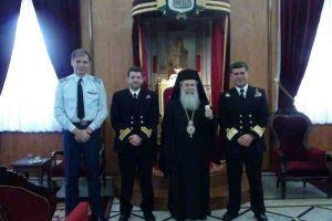 """Ο Υποναύαρχος του πλοίου """"Σαλαμίς"""" στο Πατριαρχείο Ιεροσολύμων"""