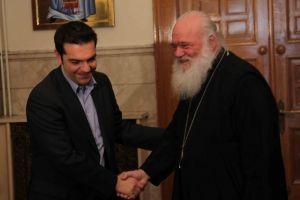 """Τσίπρας σε Αρχιεπίσκοπο: """"Θα σταθούμε στο πλευρό της Εκκλησίας"""""""