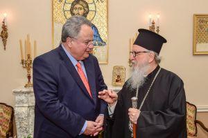 Ο Υπουργός Εξωτερικών κ.Κοτζιάς, στον Αρχιεπίσκοπο Αμερικής Δημήτριο