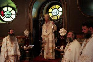 Ο Αρχιεπίσκοπος στον Ι.Ν. Αγίας Ειρήνης Αιόλου