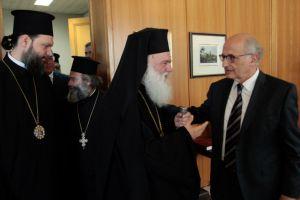 Ο Αρχιεπίσκοπος στην τελετή αποχώρησης του Προέδρου του ΣτΕ