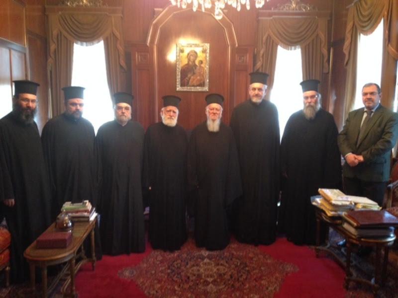 Ο Αρχιεπίσκοπος Κρήτης Ειρηναίος και ο Μητροπολίτης Κισάμου Αμφιλόχιος στον Οικουμενικό Πατριάρχη για την  Μεγάλη Σύνοδο της Κρήτης