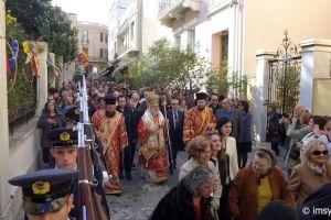 Η λιτανεία της Αγίας Φιλοθέης στο κέντρο της Αθήνας με τον Σύρου Δωρόθεο Β ´