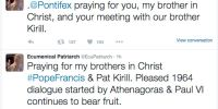 Τα Tweet του Οικουμενικού Πατριάρχη για τη συνάντηση Φραγκίσκου-Κυρίλλου (ΦΩΤΟ)