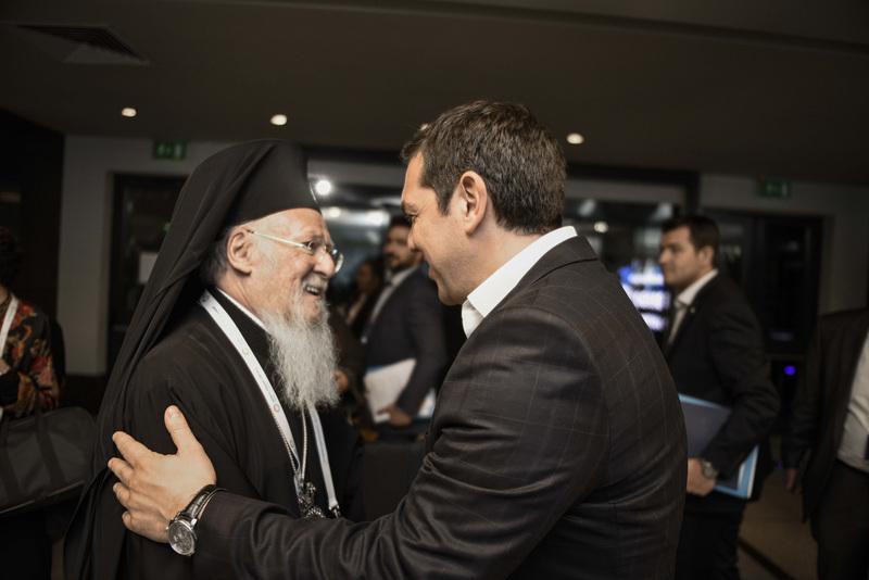 Ὁ Πατριάρχης εἰς τήν Παγκόσμιον Ἀνθρωπιστικήν Διάσκεψιν Κορυφῆς Συνάντησις μέ τόν Πρωθυπουργόν τῆς Ἑλλάδος
