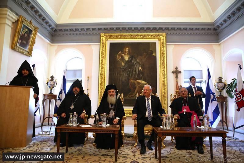 Ο Πατριάρχης Ιεροσολύμων στο Πατριαρχείο των Αρμενίων για την επίσκεψη του Προέδρου του Ισραήλ