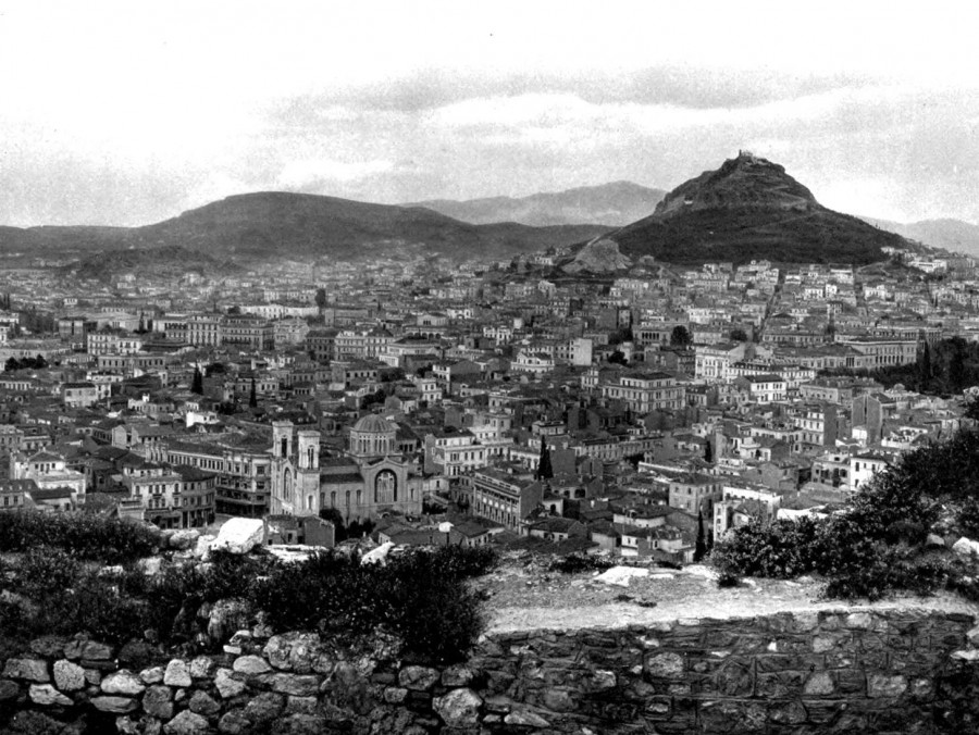 Πανοραμική εικόνα της Μητρόπολης στην Αθήνα του 1900