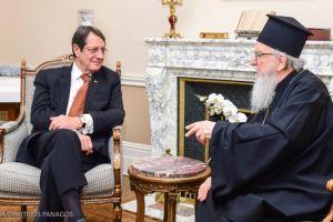 Για το Κυπριακό συζήτησαν ο Πρόεδρος Αναστασιάδης και ο Αρχιεπίσκοπος Αμερικής