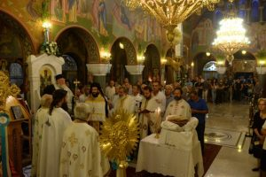 Αρχιερατικός εσπερινός στην Πύλο για την Παναγία Μυρτιδιώτισσα