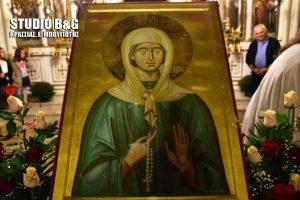 Με κάθε λαμπρότητα έγινε η υποδοχή της Ιερής εικόνας της Αγίας Ματρώνας στην Πυργέλλα Άργους