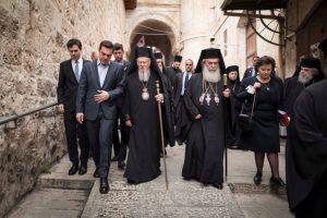 Ο Οικουμενικός Πατριάρχης στα Ιεροσόλυμα με τον Πρωθυπουργό