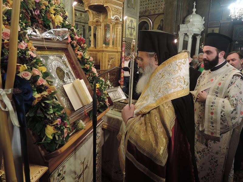 """Ο Ύδρας Εφραίμ στην Ευαγγελίστρια Πειραιά: """"Η Παναγία ακούει όλους τους χριστιανούς, όλων των αιώνων""""."""