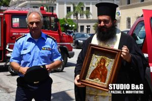 Η Πυροσβεστικής υπηρεσίας Ναυπλίου υποδέχθηκε την Τιμία Εσθήτα της Παναγίας