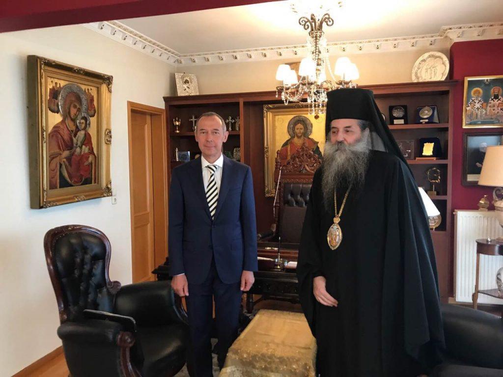 You are currently viewing Συνάντηση Ρώσου Πρέσβη με τον Σεβασμιώτατο Μητροπολίτη Πειραιώς κ.Σεραφείμ στα γραφεία της Ιεράς Μητροπόλεως