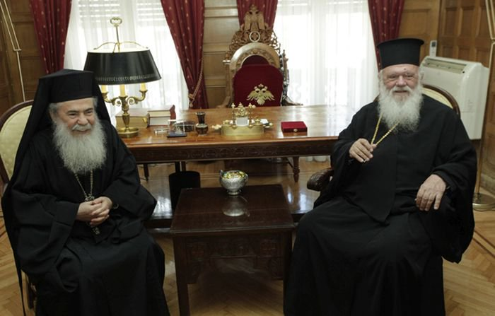 Συνάντηση του Αρχιεπισκόπου Ιερωνύμου με τον Πατριάρχη Ιεροσολύμων