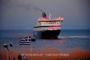 ΒΙΝΤΕΟ- Ο εντυπωσιακός χαιρετισμός του «Νήσος Μύκονος» στην Αγ. Παρασκευή Καστέλλου