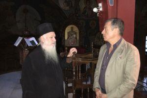 Ο Σταύρος Θεοδωράκης στην Ι. Μονή Μεταμορφώσεως Ναυπάκτου