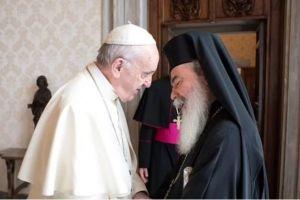 Για τα προβλήματα που αντιμετωπίζουν οι Χριστιανοί στη Μέση Ανατολή, συζήτησαν ο Πατριάρχης Θεόφιλος και ο Πάπας Φραγκίσκος
