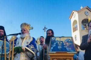 Ο Βρεσθένης Θεόκλητος  στην Αγία Μαρίνα Ηλιουπόλεως για τα Θεοφάνεια