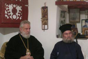 Ευχές στον εορτάζοντα Ηγούμενο της Ιεράς Μονής Ταξιαρχών Σερίφου