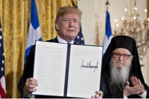 Η 25η Μαρτίου στις Η.Π.Α.: Ο Αρχιεπίσκοπος Δημήτριος και οι ομογενείς στον Πρόεδρο Τραμπ