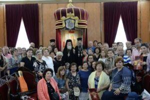 Ο Πατρών Χρυσόστομος με προσκυνητές στο Πατριαρχείο Ιεροσολύμων