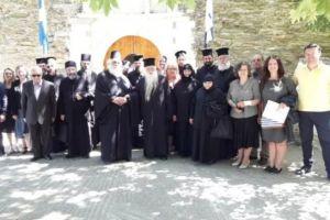 Ο Καλαβρύτων Αμβρόσιος μαζί με προσκυνητές στην Ανδρο, για τον Άγιο Νίκόλαο των εν Βουνένοις