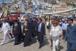 Με λαμπρότητα υποδέχθηκε η Ύδρα τον Οικουμενικό Πατριάρχη Βαρθολομαίο