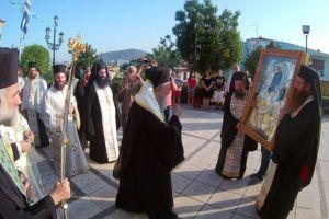 Η Χαλκίδα υποδέχθηκε την Ιερά Εικόνα της Παναγίας της Ξενιάς από τον Βόλο