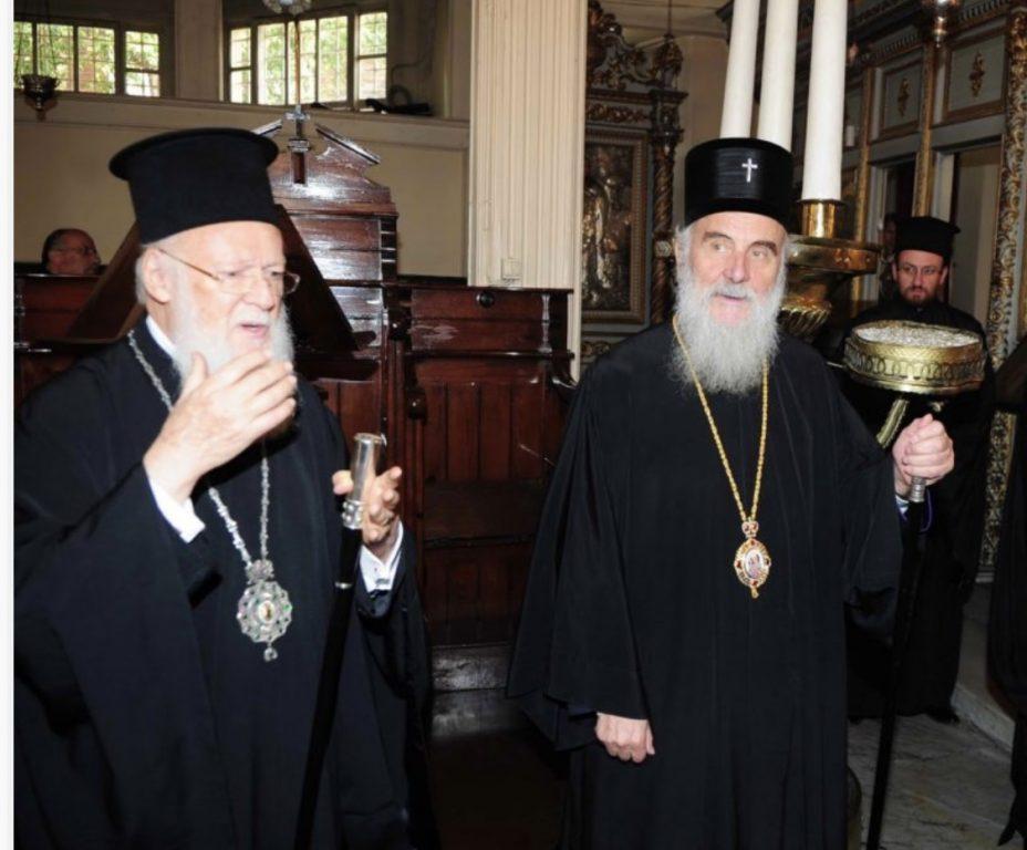 Ο Οικουμενικός Πατριάρχης Βαρθολομαίος, ο Σερβίας Ειρηναίος και πιθανόν ο Αθηνών Ιερώνυμος, στη Νεάπολη Θεσσαλονίκης