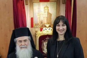 Στον Πατριάρχη Ιεροσολύμων Θεόφιλο η Υπ. Τουρισμού Έλενα Κουντουρά