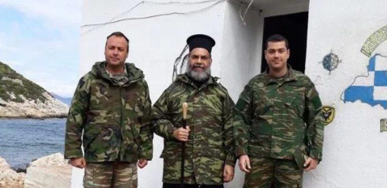 Ο Σύμης Χρυσόστομος ενδεδυμένος με στρατιωτική παραλλαγή επισκέφθηκε την ακριτική Ρω