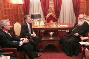Συνάντηση Αρχιεπισκόπου Αθηνών με τον Πρεσβευτή των Η.Π.Α. Samuel Brownback, υπεύθυνο για ζητήματα θρησκευτικών ελευθεριών