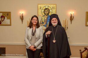 Η Υπουργός Παιδείας Νίκη Κεραμέως στον Αρχιεπίσκοπο Αμερικής Ελπιδοφόρο