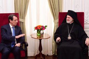 Ο Αρχιεπίσκοπος Ελπιδοφόρος υποδέχτηκε τον Πρόεδρο της Κύπρου