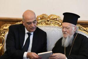 Ο Νίκος Δένδιας και ο Αρμένιος Πατριάρχης Sahak Masalian στο Φανάρι