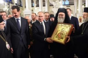 Ο Πούτιν στον Πατριάρχη Αντιοχείας Ιωάννη παρουσία του Προέδρου της Συρίας Άσαντ