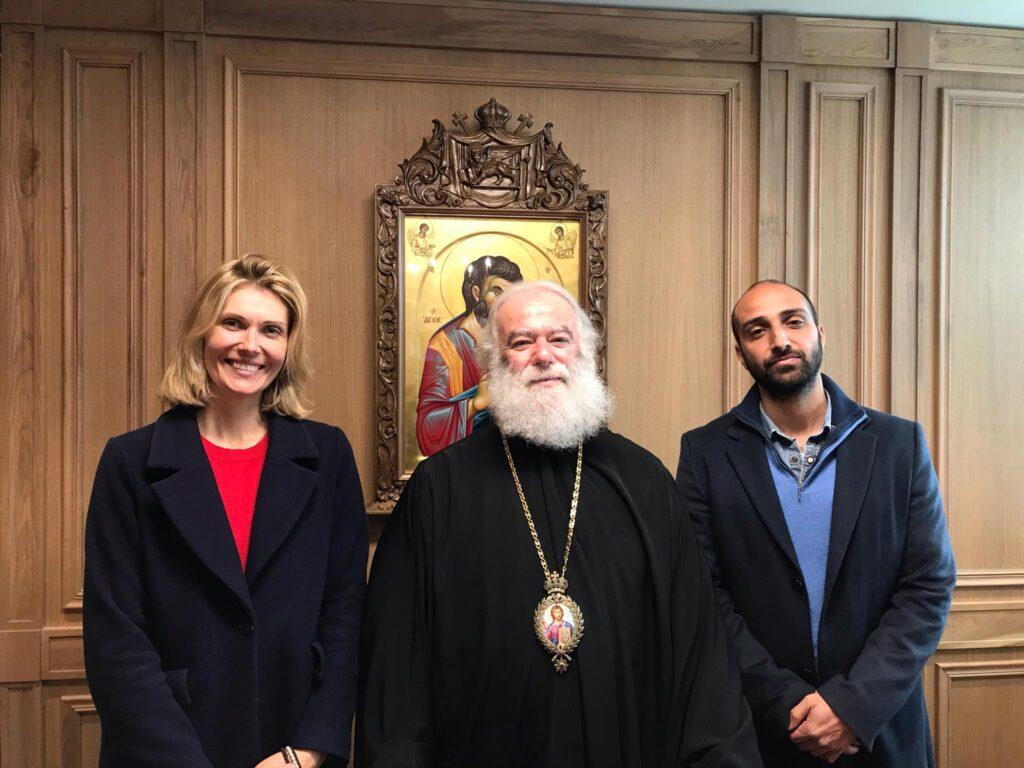 """Συνάντηση της σκηνοθέτιδας της ταινίας """"Man of God"""" για τη ζωή του Αγ. Νεκταρίου, με τον Πατριάρχη Αλεξανδρείας Θεόδωρο"""