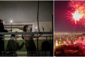 Μία διαφορετική Ανάσταση: Πυροτεχνήματα φώτισαν τον ουρανό της Αθήνας -Στα μπαλκόνια με λαμπάδες οι πιστοί