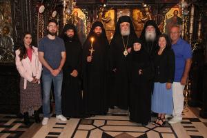 Δυο μεγαλόσχημοι μοναχοί στην Ιερά Μονή Τρικόρφου από τον Σεβ. Μητροπολίτη Φωκίδος