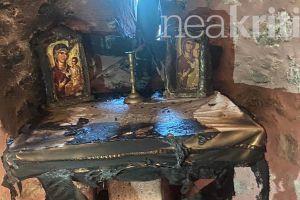 Σοκ στην Κρήτη : Ιερόσυλοι πυρπόλησαν την Αγία Τράπεζα της Παναγίας της Ρόκας στον Προφήτη Ηλία στο Ηράκλειο