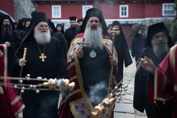 Ο Σταγών και Μετεώρων Θεόκλητος στην Ι.Μ.Μ. Βατοπαιδίου