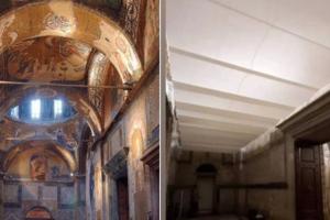 """Βαρβαρότητες και αθλιότητες Ερντογάν: Με ψευδοροφές κι αστάρι """"εξαφανίζουν"""" τις τοιχογραφίες της Μονής Χώρας"""