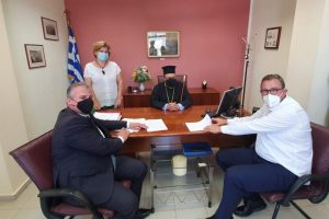 Ο Μητροπολίτης Μεσσηνίας στην υπογραφή Σύμβασης νέου Σχολικού Συγκροτήματος στην Κορώνη