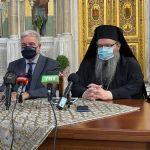 Προς τον Μητροπολίτη Λαρίσης κ.Ιερώνυμο που ξεκινά εμβολιασμούς στους Ιερούς Ναούς της Λάρισας